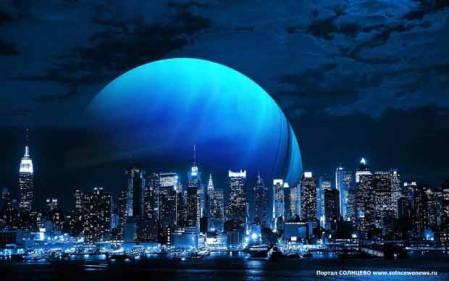 Голубая луна, город, ночь
