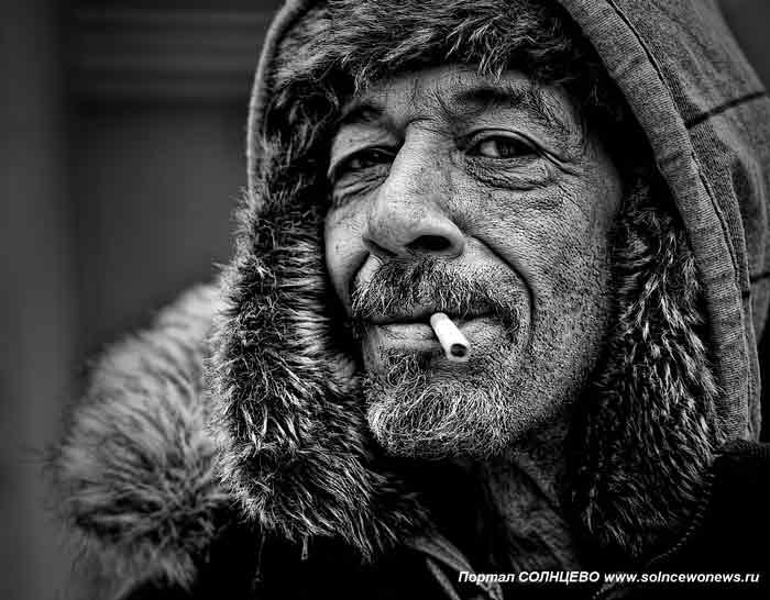 бездомный, мужчина, курящий