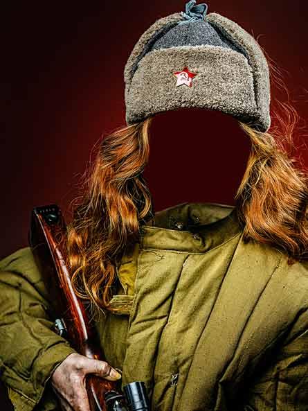 Девушка в военной форме, шаблон к 9 мая