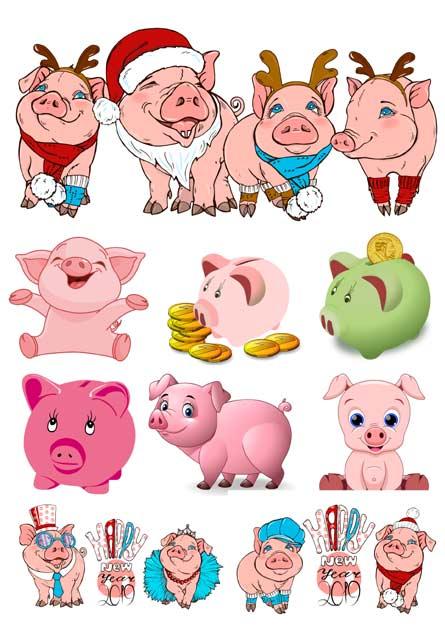 Клипарт свинка на прозрачном фоне
